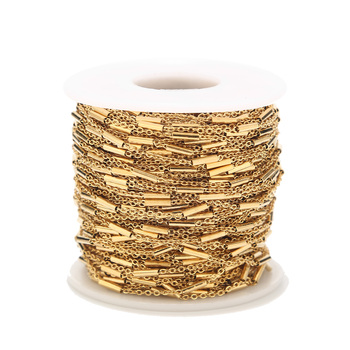 2 Meters Stainless Steel Tube Beaded Cable Link Chain for DIY Anklet Necklaces Bracelet Jewelry Making Accessories hl 15mm width 2 meters 5 meters leopard elastic band diy garment accessories for making headband