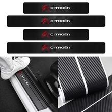 4PCS Car 3D Carbon Fiber Anti-Scuff  Door Threshold Pedal Conservation Stickers For citroen C1 C3 C4 C4L C5 C6 VTS C-ELYSEE