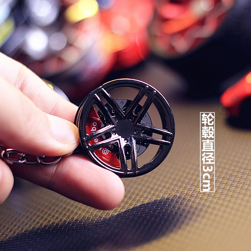 Car Trend Modified Wheel Hub Shock Absorbers Keychain Metal Key Chain Pendant Men And Women Cool Gift Accessories Key Case for Car     - title=