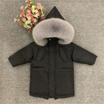 --30 kids winter down jacket inner plus velvet real fur children thick warm outerwear coat for toddler baby boys girls 2-10years
