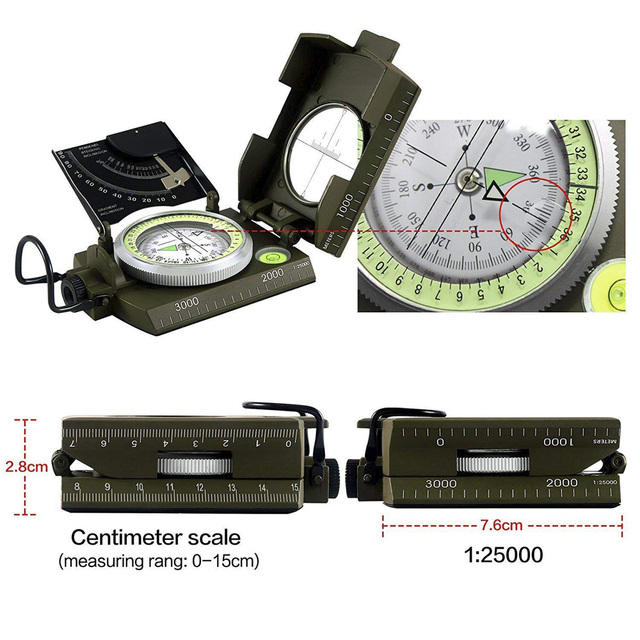 Eyeskey Mulitifunctional Outdoor Survival Military Compass Camping Waterproof Geological Compass Digital Navigation Equipment 5