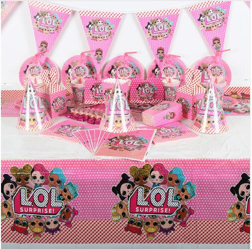 214Pcs Surprise Dolls Theme Baby Shower Boys Birthday Decoration Wedding Event Party Supplies Various Tableware Sets