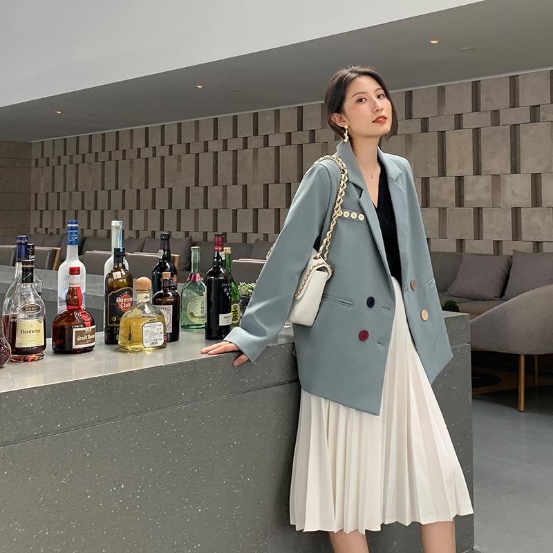 New Autumn 2019 Women Blazer Jacket Coat Double-breasted Blue Suit Casual Ladies Office Work Blazers