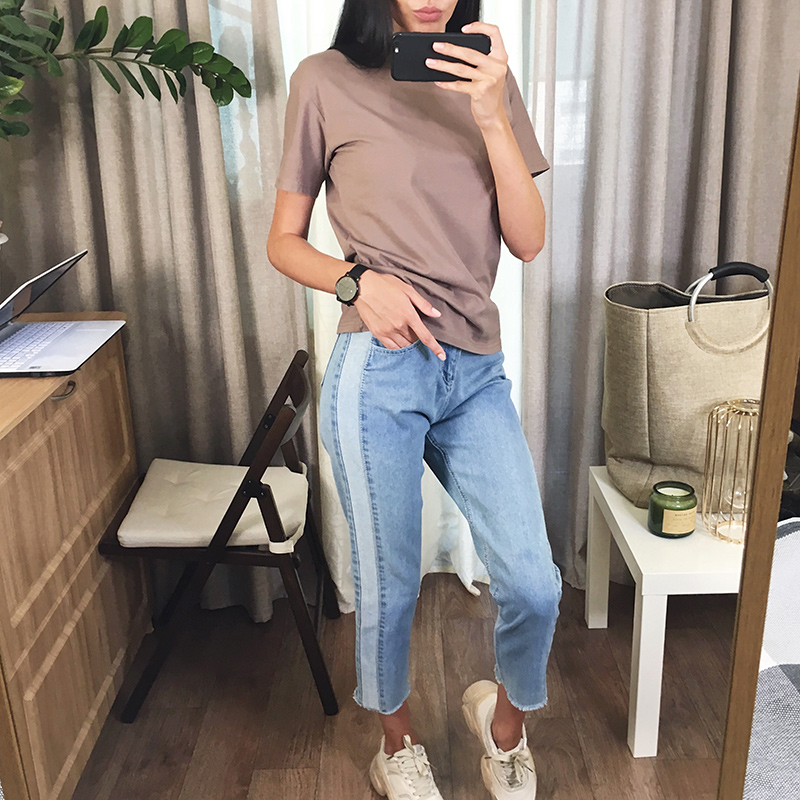 BIVIGAOS 19 New Spring Autumn Womens Cropped Jeans Korean Side Stitching Washed Denim Straight Pants Boyfriend Jeans For Women 1