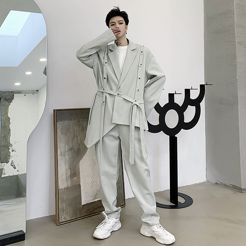 2PCS SetsCasual Suits Men Jacket Pant Male Women Streetwear Hip Hop Trousers Stage Clothing Fashion Show Blazer Coat B75