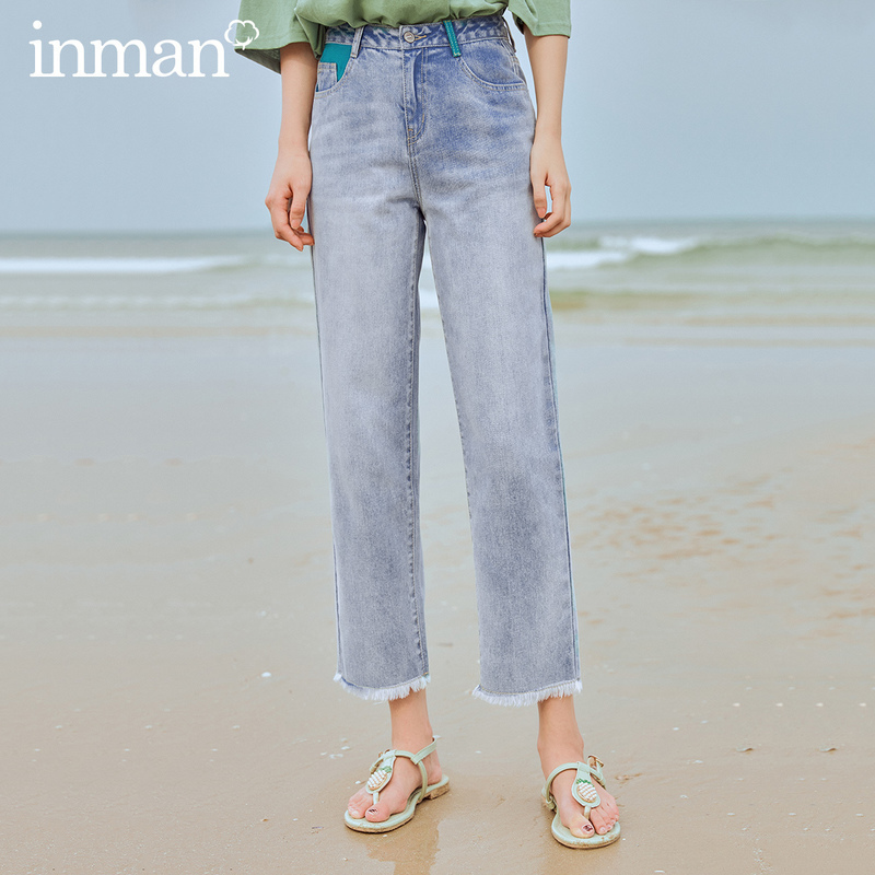INMAN 2020 Summer New Arrival Pure Cotton Contrast Color Straight Rough Selvedge Leisure Jeans