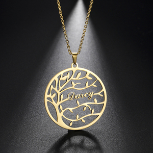 Sipuris Custom Name Necklace Tree of Life Stainless Steel Name Letter Necklace for Women Family Couple Personalized Jewelry Gift