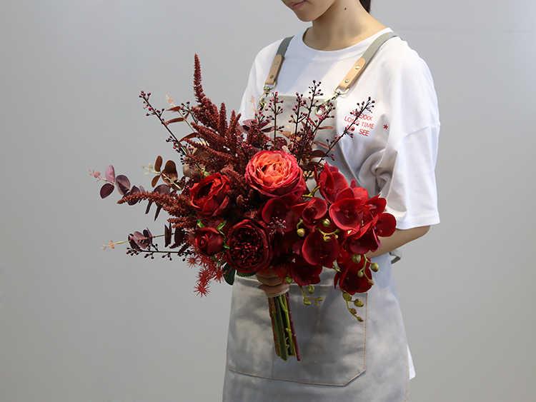 Janevini Vintage Merah Gelap Sutra Bunga Pernikahan Karangan Bunga Buatan Peony Rose Bridal Bridesmaid Buket Pernikahan Aksesoris 2019