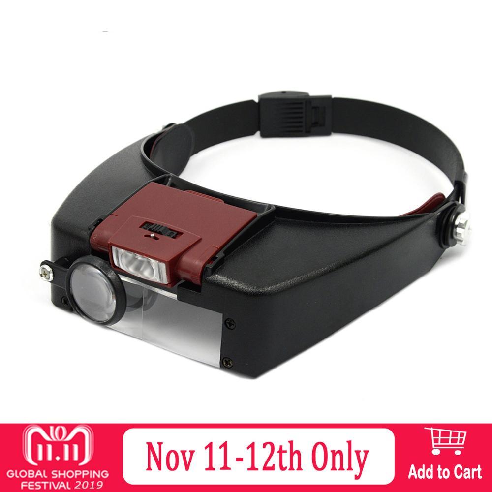 Behogar lupa microscópio capacete lupa lupa de vidro vergrootglass lupas com luz led luz leitura ou reparação uso