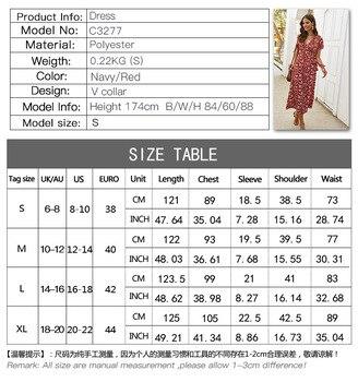 Elegant Floral Printed Boho Dress A-Line Ruffles V-Neck Short Sleeve Bow Sashes Ruched Midi Dress Women Casual Summer Dress 2020 5