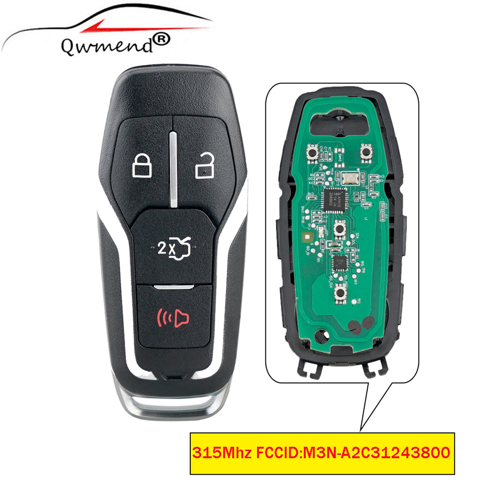 QWMEND 4Buttons Smart Remote Prox Key Keyless Fob 315Mhz Transmitter ID49 Chip For Ford Mustang 2015 2016 M3N-A2C31243800