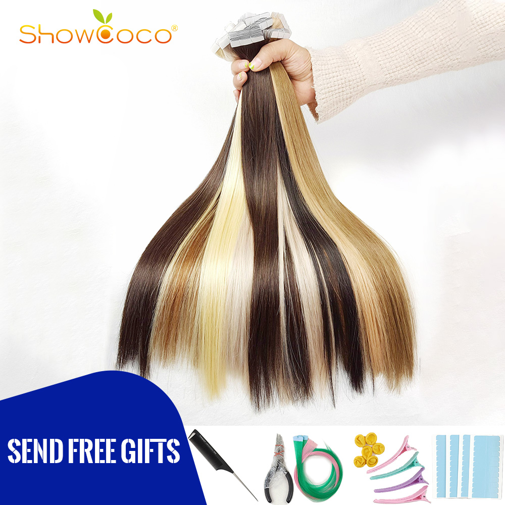 Showcoco Virgin Remy Tape In Human Hair Extensions From One Donor Cuticle Intact Adhesive Premium White Tape Hair 20pcs