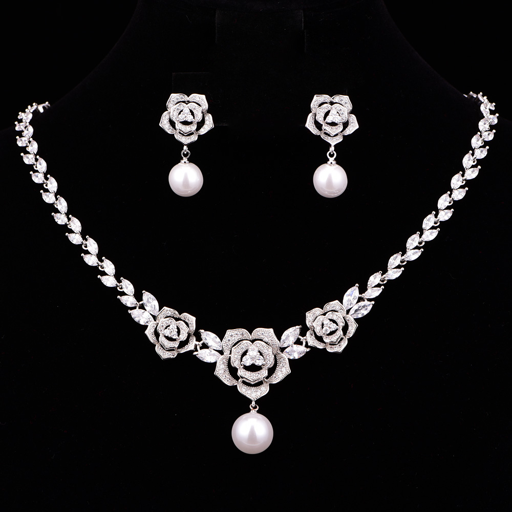 High Quality Brilliant Flower Cubic Zircon Wedding Jewelry Sets For Women Bridesmaid Necklace Earring Set CZL-6008