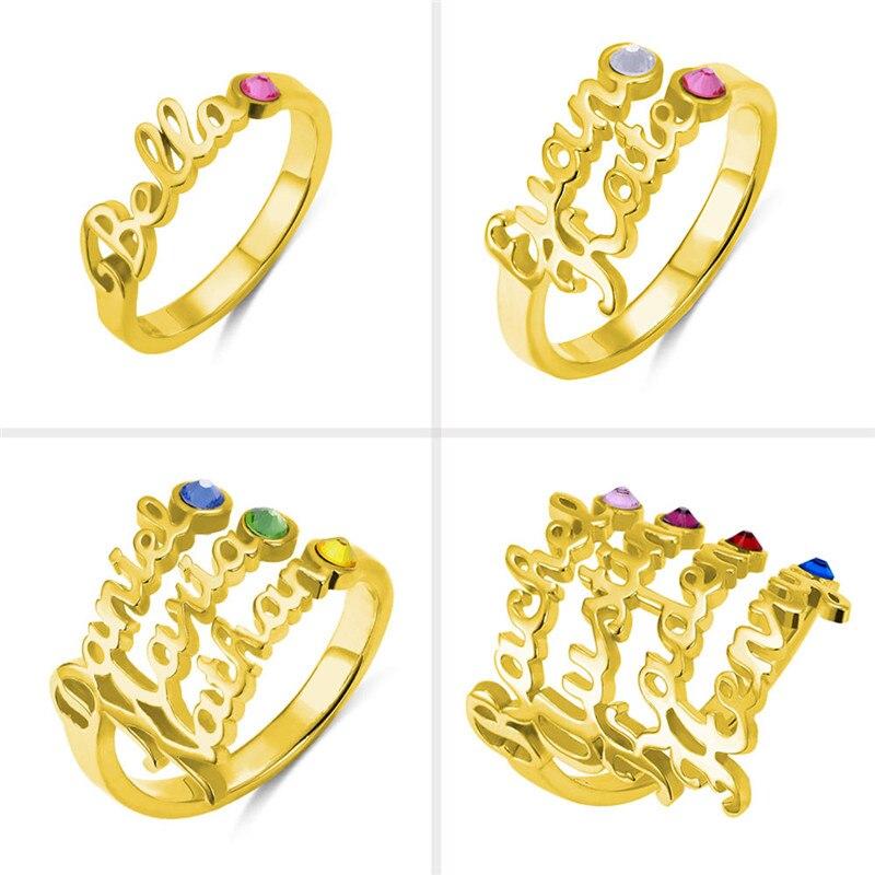 AILIN personnaliser nom anneaux avec pierre de naissance personnalisé nom anneaux en argent Sterling anneaux bijoux pour femmes nom de famille anneaux - 3