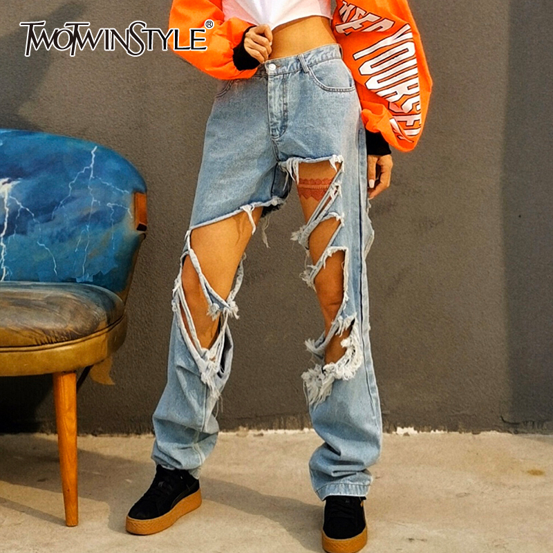 TWOTWINSTYLE Hollow Out Tassel Streetwear Women's Jeans High Waist Pocket Cross Pants Female Fashion New Spring 2020 Fashion New