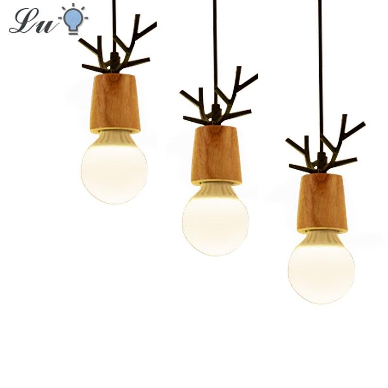 LED Pendent Lights Restaurant Iron Art Antlers Children Hanging Lamp Modern Kitchen Bedroom Household Lighting Fixtures