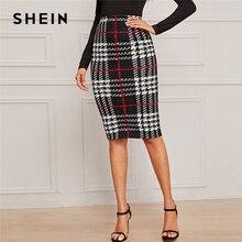 SHEIN Plaid Print Elegant Pencil Skirt Women Bottoms Autumn Fashion High Waist B