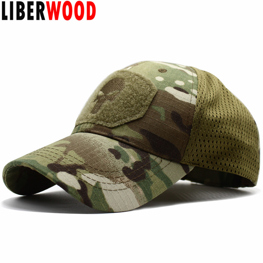LIBERWOOD Swat-Hat Place-Patch Mesh Multicam Tactical-Cap Fitted Punisher Skull Special-Force title=