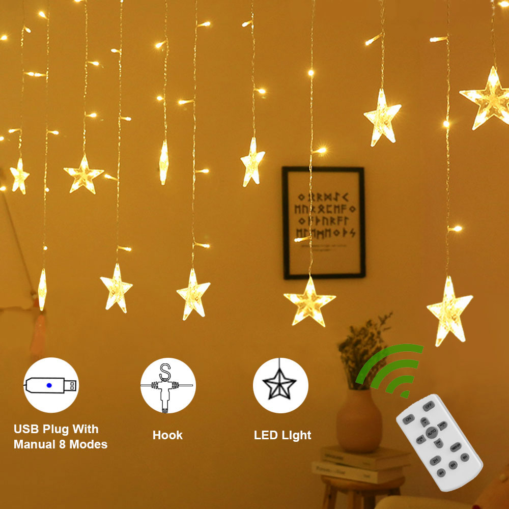 LEDGLE USB Star Curtain Light Detachable Star String Light Starry Dimmable Window Curtain String Light Indoor Bedroom Decorative