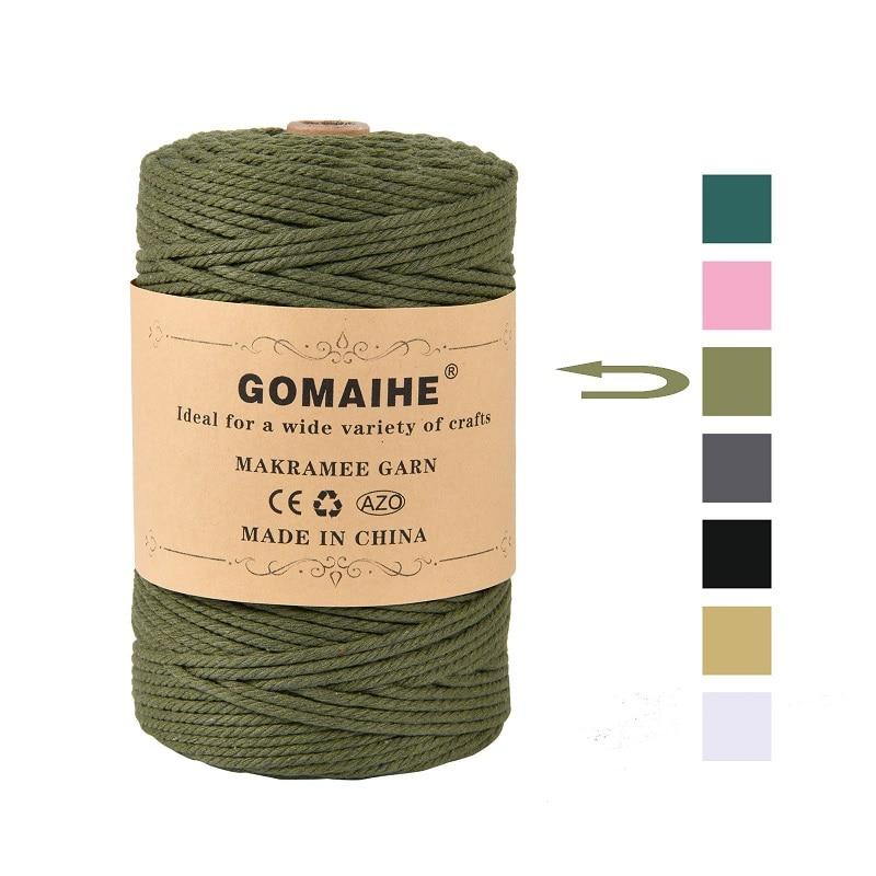 Шнур для макраме GoMaihe 3 мм x 200 м, шнурок из 100% хлопка, шнурок для ремесла, шнурок для настенного вешалки для растений, вязание, украшения для до...