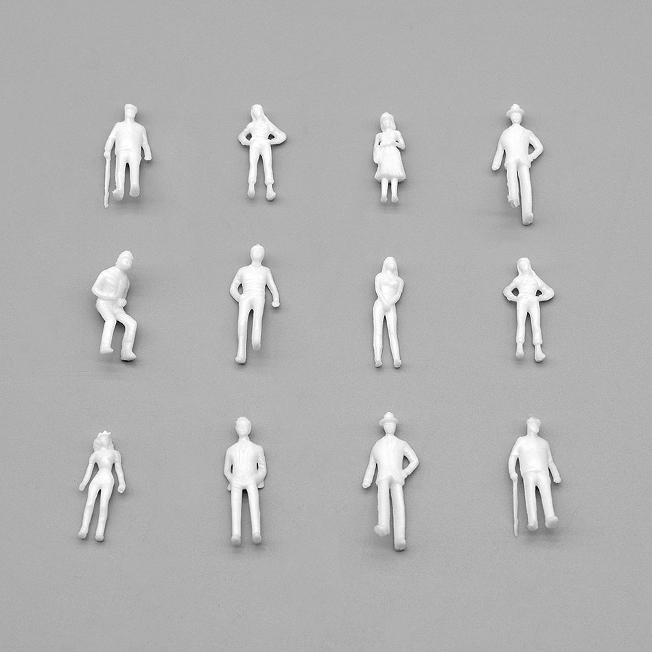 1/75 White Mini Model Man 100pcs Toy Plastic Building Material Collection Miniature Statue Sand Table Layout Scene