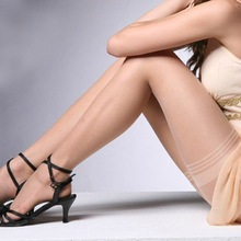 Sitonjwly Sexy Women's Thigh High Stockings Lace Top Thigh Smooth Mujer Leg Stockings Female Transparent Plus Size Stockings