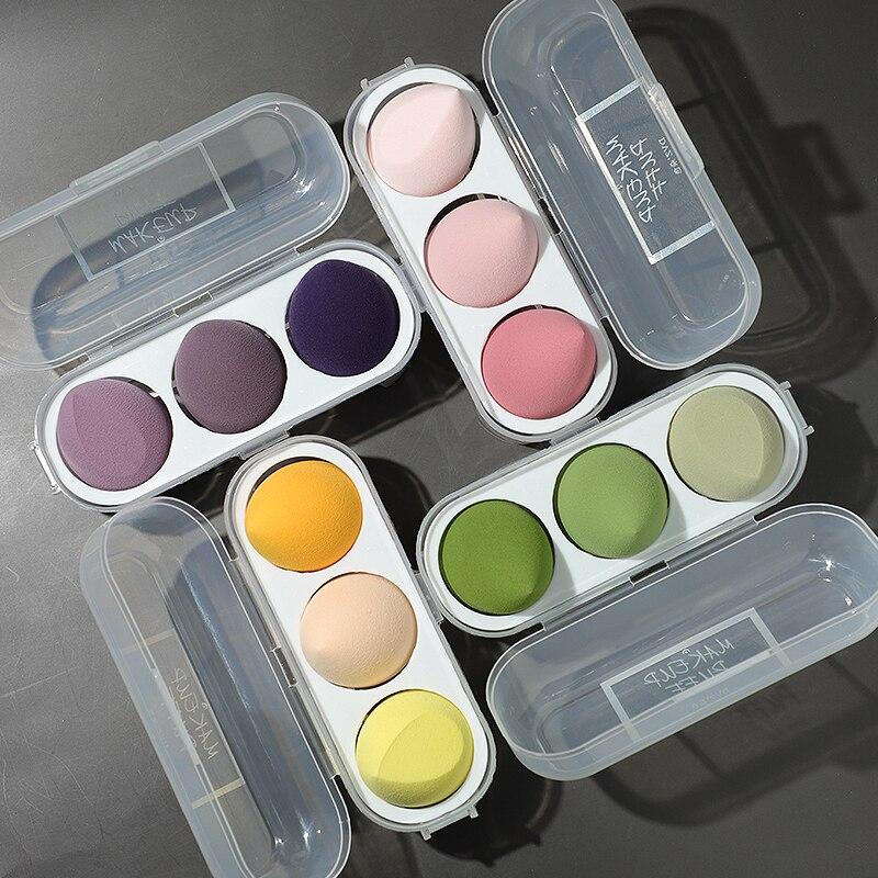 3/4 Piece Set Of Makeup Sponge, Puff, Healthy Latex Soft Sponge, Wet And Dry Set, Beveled Beauty Makeup Tool