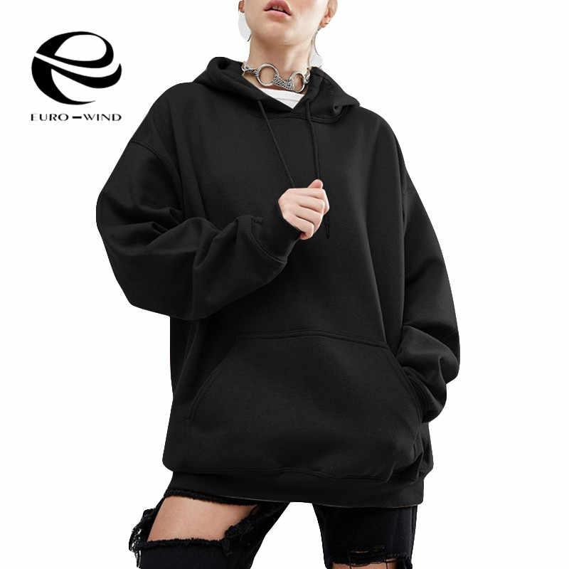 בתוספת גודל 5XL נשים צמר חורף חולצות הסווטשרט יפני אופנה 2019 Oversize גבירותיי סוודרי חם כיס ברדס מעיל