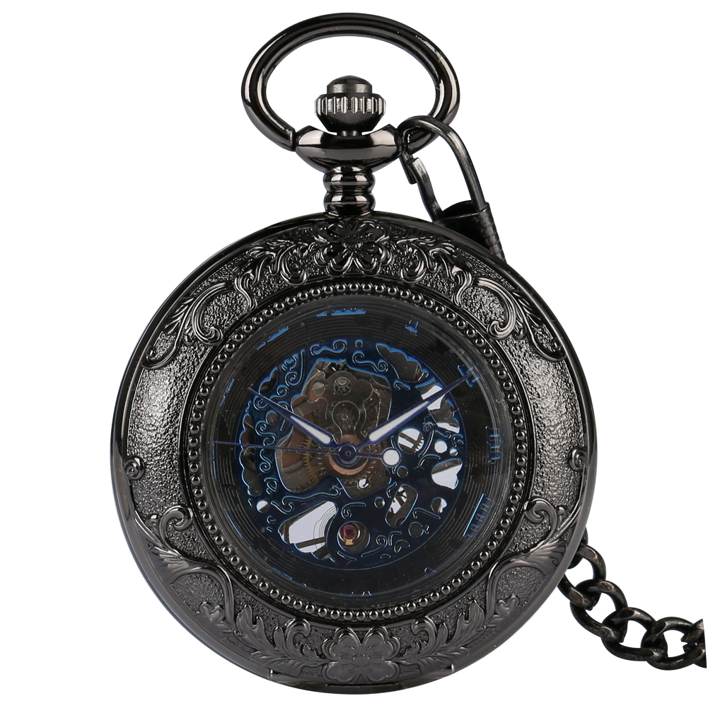 Vintage Black Hand Wind Mechanical Pocket Watch Glass Transparent Cover Steampunk Skeleton Roman Numerals Dial Pendant Watches