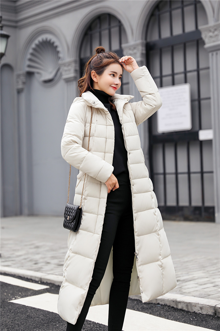 Down Coat Women Long Fur Collar Jacket Women Winter With Hooded Down Coat Winter Oversize Doudoune Jacket Coat Lady Down Parka