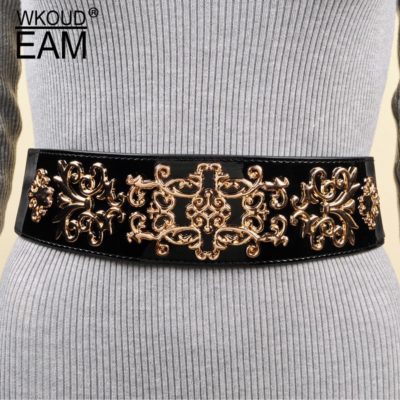 WKOUD EAM 2020 New Fashion Autumn Waistband Women Solid Wide Belt Metal Carved Alloy Buckle And Studs Wide Belt Female ZJ949