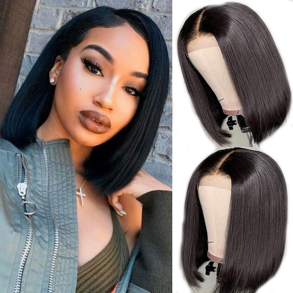 Short Bob Lace Front Wigs For Women Pixie Cut Brazilian Lace Front Wig Pre-Plucked Straight Lace Front Human Hair Wigs Bob Wig
