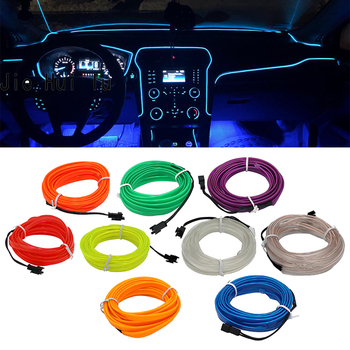 EL Wire Flash Rope Tube Cable LED Strip Flexible Neon Lamp Glow String Light For Car Decoration With 8mm Sewing Edge Car Styling image
