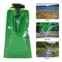 750ml bpa livre dobrável flexível saco de filtro de água garrafa de filtragem de água da bexiga com mosquetão para sobrevivência de emergência ao ar livre