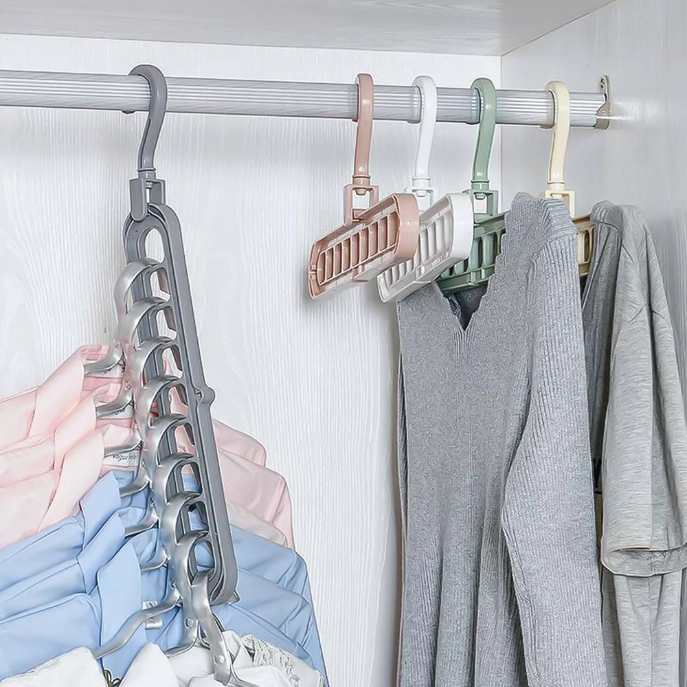 Multi-function Folding Hanger 9 Hole Rotating Magic Clothes Hanger Closet Organizer Home Bedroom Storage Rack Color Random