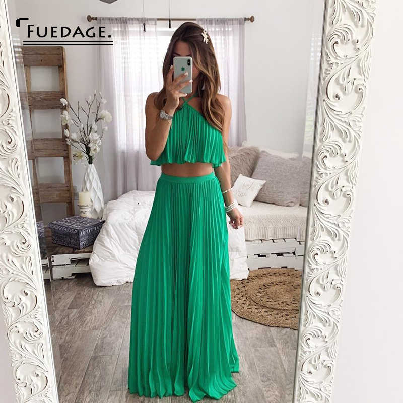 Fuedage Zomer Chiffon Green Sexy Tweedelige Set Ruches Backless Halter 2 Delige Set Vrouwen Club Party Vrouwen Twee Stuk outfits