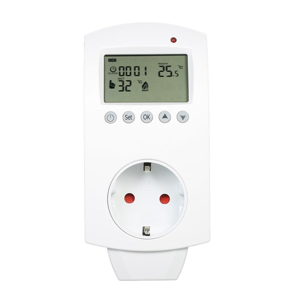 Digital LCD Programmable Temperature Controller Controlling Air Conditioner Thermoregulator Plug In Thermostat