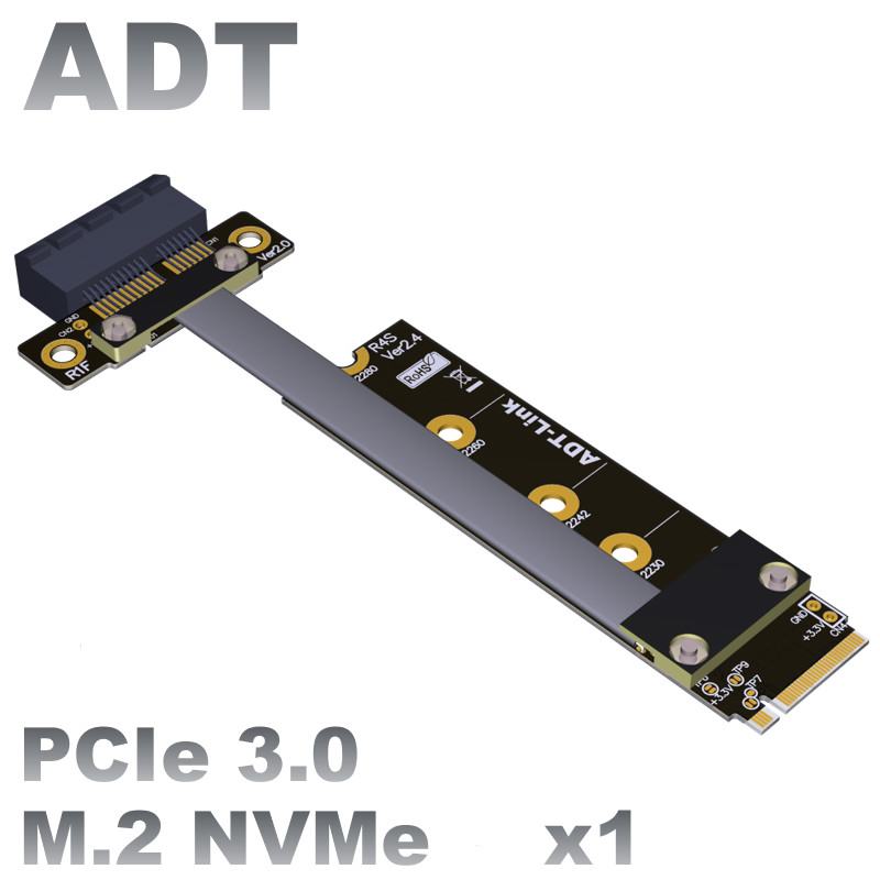 <font><b>M.2</b></font> NVMe mkey to <font><b>PCIe</b></font> 3.0 <font><b>x1</b></font> <font><b>pcie</b></font> extension cable to nvme ssd converter adapter image