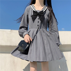 Japanese College Style Women Dress Sweet Girl Sailor Collar Bow Kawaii Short Puff Sleeve Dresses Vintage Pleated Splice Dress