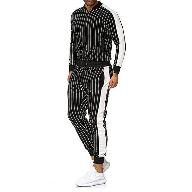 Men's Sports Decorative Strip Plaid Suit Stand Neck Fit Men's Suit Sports Suit Two Piece Set For Outdoor Travel Fashion Clothes