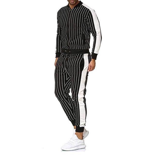 Men's Sports Decorative Strip Plaid Suit Stand Neck Fit Men's Suit Sports Suit Two Piece Set For Outdoor Travel Fashion Clothes
