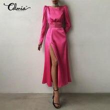Women Elegant Satin Silk Party Tight Dress Celmia Fashion Open Back Slit Hem Maxi Vestidos Sexy Belted Long Sleeve Dress Robe