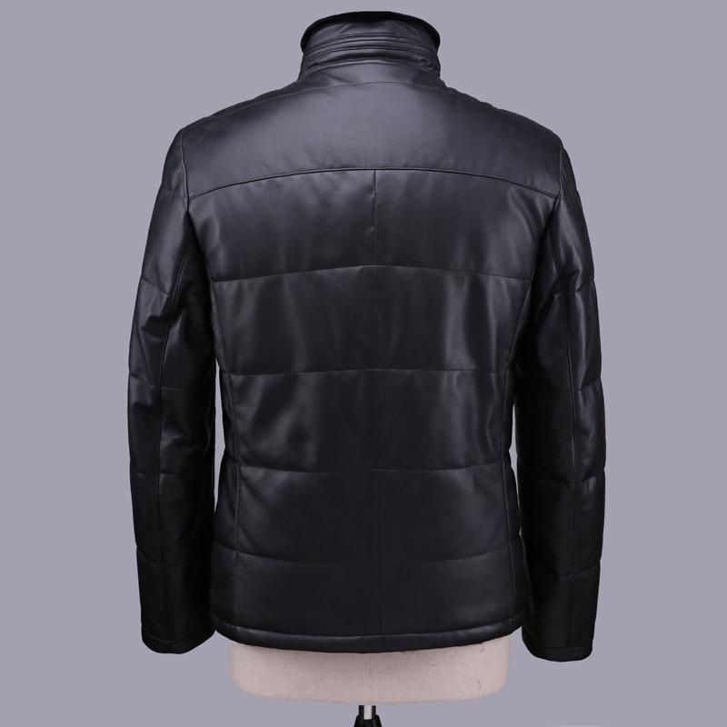 Geniune Jacket Men Sheepskin Leather Duck Down Coats With Natural Rex Rabbit Fur Liner Coat 12-H28# MF402