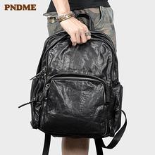 Модный повседневный мужской рюкзак из натуральной кожи высококачественный