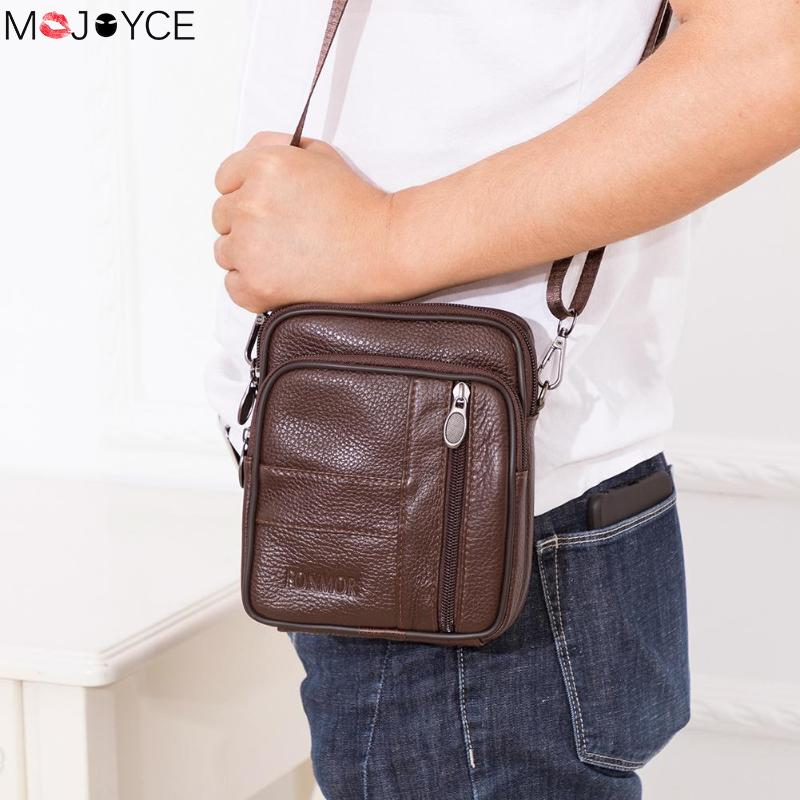 New Genuine Brown Leather Mens Business Messenger Shoulder Bag Cross Body Purse