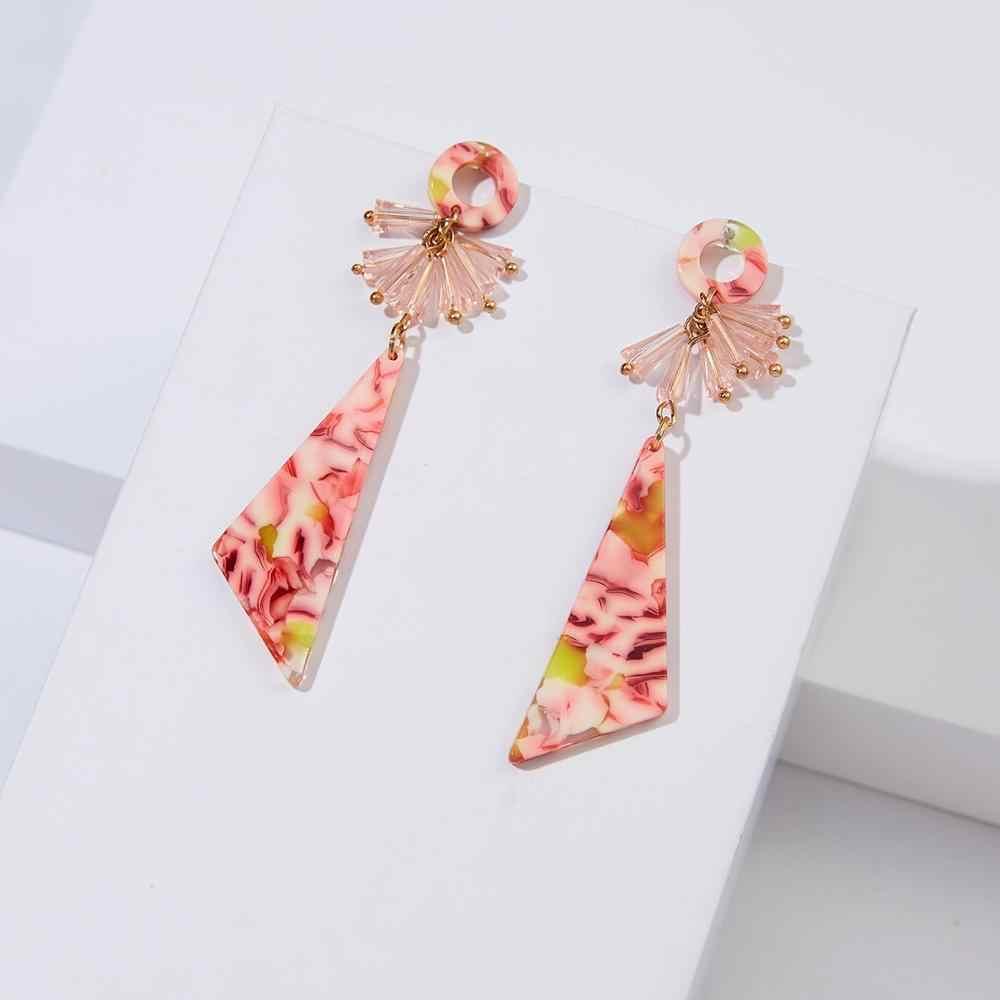 Hợp thời trang Nhựa Thả Bông Tai Nữ Dài Lớn Tam Giác Hình Học Acrylic Dang Bông Tai Đính Hạt Pha Lê Bông Tai Vòng Tròn Nữ
