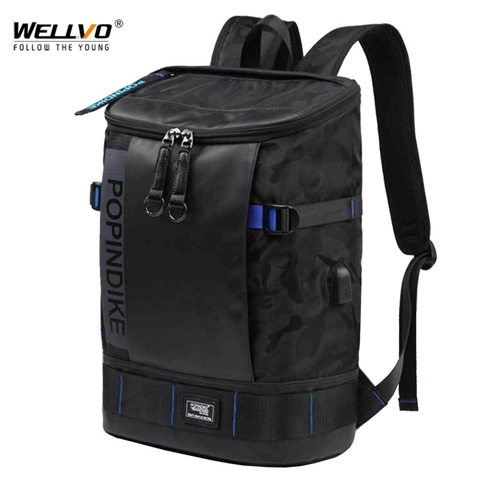 USB charge sac à dos hommes grand seau sacs à dos étudiants ordinateur portable sacs de voyage mâle lettre impression Camouflage sac 17 pouces XA86C