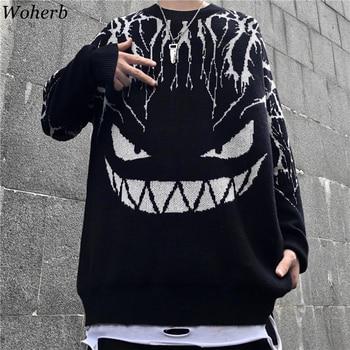 Woherb Harajuku Black Sweater Women Men Lightning Devil Knitted Jumper Oversize Pullover Hip Hop Streetwear 2020 Autumn Sweaters 1