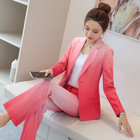 IZICFLY Fall New Style gradient red blue woman suits with pant Office Uniform Design Elegant Business female suits with trouser
