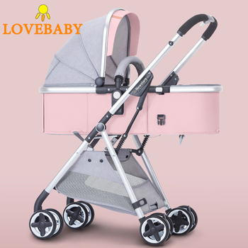 Baby Stroller 2 in 1 Baby Carriage Lightweight Folding Carrying Belt Lying Seat Hot Mom Four Wheels Stroller Baby
